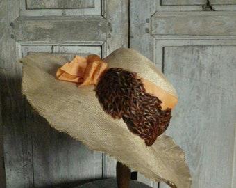 vintage antique (ca 1920)  hemp feathered summer hat