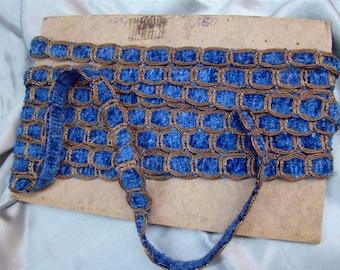 French antique trim metallic threads  blue  silk velvet chenille