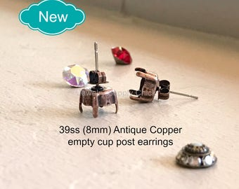 39ss (8.5mm) Antique Copper empty cup post earrings