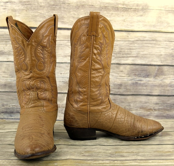 Mens Distressed Boots Tan Lama Extra Wide EE Size Cowboy Tony Western Leather 9 qHwX7ESa
