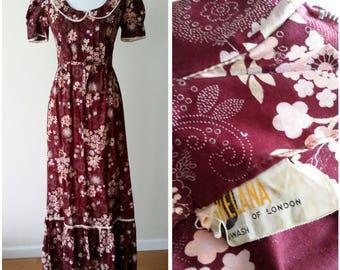 Prairie dress, S, M,  maxi dress, cotton dress, boho dress, 70's maxi dress, vintage 70s dress, 70, maxi, burgundy dress, floral maxi dress
