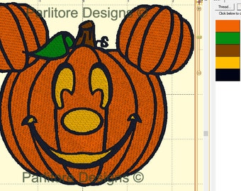 Mickey Jack-o-Lantern Pumpkin Halloween Digital Embroidery Design ~ Instant Download ~ 4x4, 5x7, and 6x10 Sizes