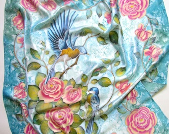 Hand painted silk scarf ''Birds'' . Silk scarf.hand painted scarves,floral scarf,Silk Shawl,Women Scarves.