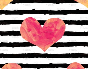 Hearts - Sherbert Swirl on Stripes Fabric by littlearrowdesigncompany - Cotton/ Polyester/ Jersey/ Canvas/ Digital Printed