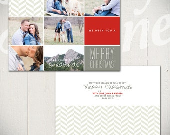 Christmas Card Template: Warmest Wishes C - One 5x7 Holiday Card Template for Photographers