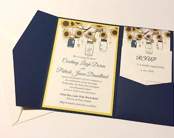 Sunflower Wedding Invitation Pocketfold Set - Mason Jar Wedding Invitation Kit - Lemon Drop Cobalt Blue - Accommodation RSVP Reception Card