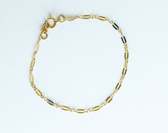 Gold-Filled, Rose Gold-Filled or Sterling Silver Coin Chain Bracelet, Dainty Chain Bracelet