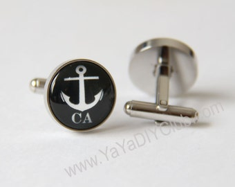 Anchor Cufflinks Custom Initials, Nautical Cuff Links, Personalized Cuff links Gift for him STAINLESS STEEL Cufflinks