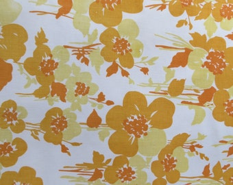 One Yard of Vintage Sheet Fabric - Orange & Mustard Floral - 1 yd
