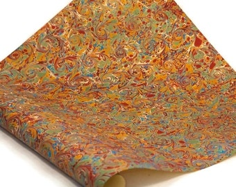 Hand-Marbled Paper Imported From Italy - Curled Stone - Red/Blue/Green