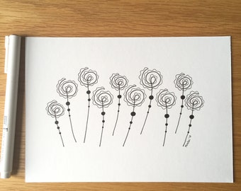 A5 original drawing in black ink on paper, minimalism, flowers, gift