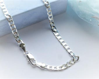 """mens silver curb chain 4mm or 6mm width Boys 16""""ins Mens 24""""ins or 28""""ins longer length gift pouch gift ideas childrens women girls necklace"""