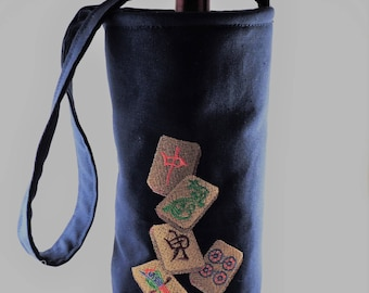 MahJong wine tote bag lined with shoulder strap