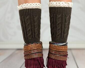 Brown Wheat Boot Cuffs