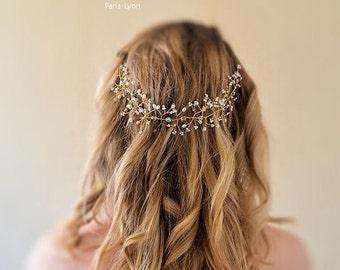 Bridal hair vine, wedding crown, Swarovski, glass bead and mother of pearl
