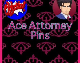 """Phoenix Wright Ace Attorney 2.25"""" or 1.5"""" Pin-back Button"""