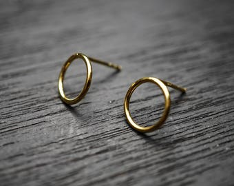 Gold Circles Studs Tiny Circle Rope Lasso Hoop Studs 925 Silver SOLID Gold Hypoallergenic Gold Yellow Round Studs Earrings LSGSM032