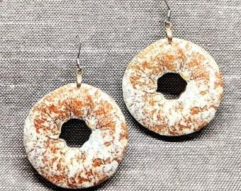 Powdered Donut Earrings / Wood Earrings / Donut Jewelry / Foodie Earrings / Junk Food Jewelry / Donut Accessory / Kitsch Jewelry