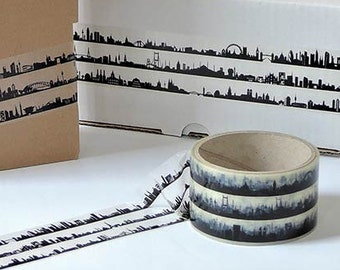 Decoration band STICKY TAPE 27C travels across the globe - 33 m x 5 cm - Planner/Travel Notes Series 27 Skylines Band Aid - made in Berlin