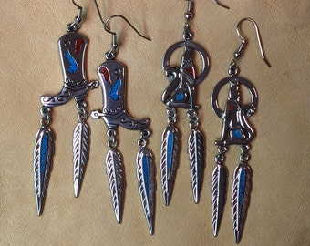Howling Wolf & Cowboy Boot  Earrings