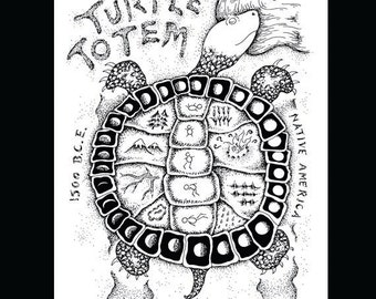 Turtle Totem: digital fine art print.