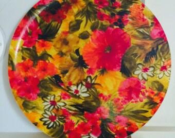 Vintage floral print fiberglass serving tray - Mod, 60s 70s, Mid Century