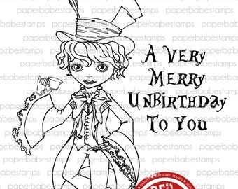 Dillon Hatter - Paperbabe Stamps - Red Rubber Cling Mounted Stamps - Alice in Wonderland Rubber Stamp for paper crafting and scrapbooking.