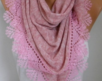 Dusty Pink Knitted Scarf Wedding Shawl Cowl Lace Bridesmaid Bridal Accessories Gift For Her Women Fashion Accessories,Valentine's Gift