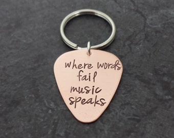 Personalized Copper Guitar Pick Keychain - Hand Stamped Copper Pick - Fathers Day - Gifts for Dad