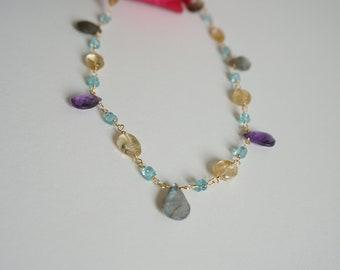 Precious and beautiful multi gemstone briolettes wire wrapped necklace, amethyst labradorite citrine apatite