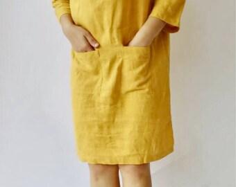 Yellow Linen dress, Linen tunic, Dress, Natural dress, Eco-friendly dress 100% Flax Linen
