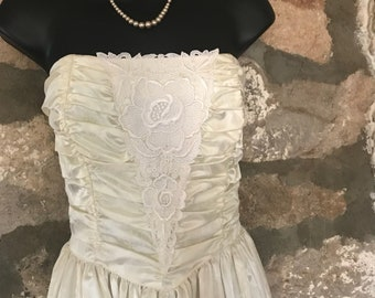 70s Gunne Sak Ivory Satin Strapless Corset Formal Gown Wedding Dress XS