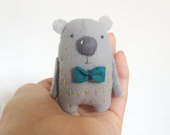 Tiny Felt Bear With A Teal Bow, Felted Bear, Felted Miniature Animals, Felt Animals, Felt Bear Softie, Mini Bear Toy