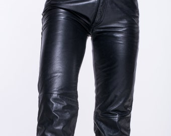VINTAGE Black Leather High Waist Retro Jeans