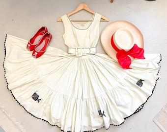 1950's girl's cream dress FULL SKIRT w/ cross stitch whales & black zig zag ribbon trim