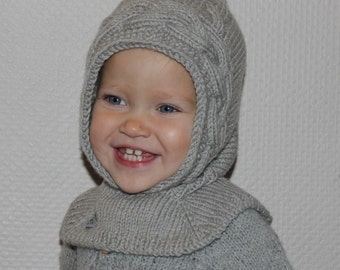 Hand knitted baby Pixie Hat with Collar. Hat and scarf all in one. Hand knitted hood with neck. Balaclava hat. Merino wool baby hat