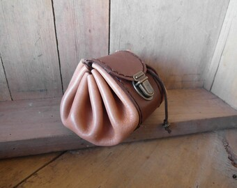 Salmon and brown leather purse light, handcrafted clasp clip