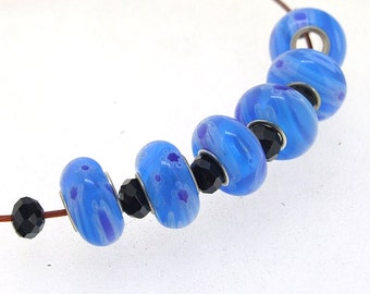 Big Hole 4.5mm 5Beads Blue Flower Crystal Glass  Lampwork beads Handmade jewelry designs  European Style