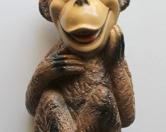 Vintage Silvestri Bros Large Chalkware Monkey Bank 1965