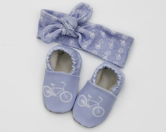 Purple Bicycle Baby Girl Knotted Headband and Matching Crib Shoes 0 3 6 12 18 month Purple Bicycle Organic Handmade Baby Shoes in Lavender