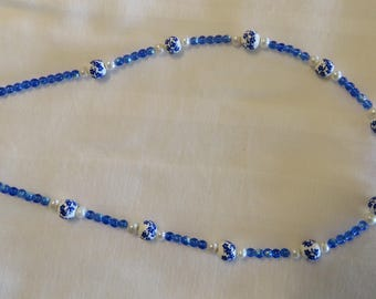 Blue ceramic beads with blue glass beads and fresh water pearls