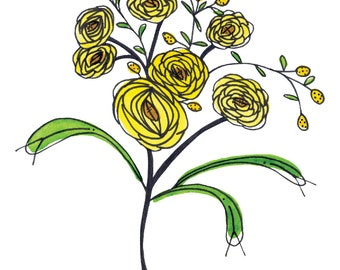 Yellow Ranunculus Bouquet Watercolor and Ink Illustration