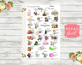 Celebrate May 2019 Planner Stickers - National Holiday Stickers - Special Days Stickers - Wacky Holiday Stickers - Holiday Planner - WH05