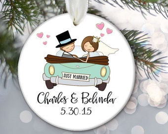 Just Married Ornament, Getaway car ornament, Personalized Christmas Ornament, Custom Christmas Gift, Bridal Shower Gift, Get away car OR231