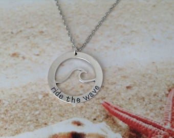 Nautical Surfing Ride the Wave Silver Plated Circle Stamped Word Charm Beach Surfer Chain Necklace Pendant Jewellery