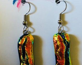 Orange Dichroic glass earrings
