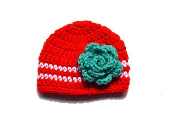Girls Red Crochet Hat, Crochet Flower Hat, Girls Knit Hat, Red White Teal, Girls Beanie, Crochet Baby Girl Hat, Knit Baby Hat, Red Baby Hat
