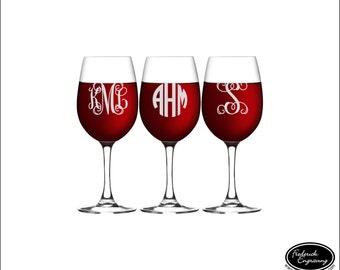 THREE Monogram Wine Glasses, SHIPS FAST, Personalized Monogrammed Wine Glasses, Engraved Wine Glasses, Custom Wine Glasses, Wedding Glasses