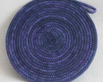 Indigo Hand-dyed Coiled Rope Mat / Fabric Coiled Mat / Mug Rug / Trivet / Hot Pad / Round Coiled Mat by PrairieThreads