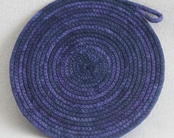 Indigo Hand-dyed Coiled Rope Mat / Fabric Coiled Mat / Mug Rug / Trivet / Hot Pad / Round Coiled Mat by PrairieThreads